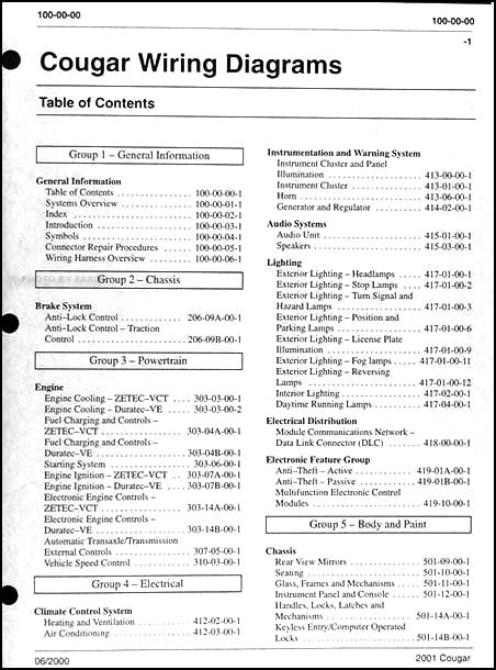 2001CougarWDTOC1 2001 mercury cougar wiring diagram manual original 1999 Cougar V6 Upgarde at suagrazia.org