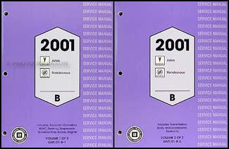 2001 pontiac aztek and buick rendezvous repair shop manual. Black Bedroom Furniture Sets. Home Design Ideas