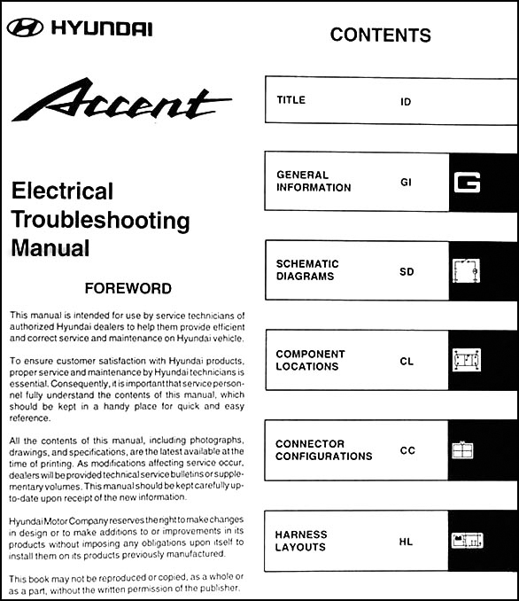 2001HyundaiAccentETM TOC 2001 hyundai accent electrical troubleshooting manual original 1997 Hyundai Accent GS at bayanpartner.co