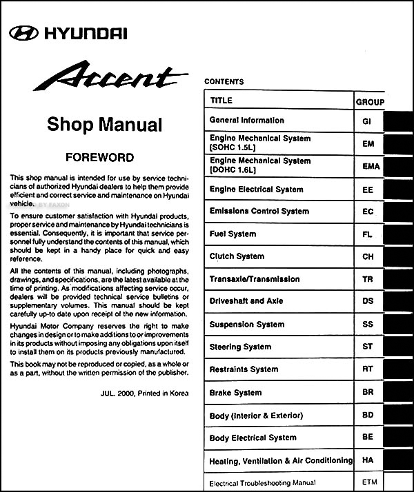 2001 hyundai accent repair shop manual original rh faxonautoliterature com Hyundai Engine Diagram Car Radiator Parts Diagram