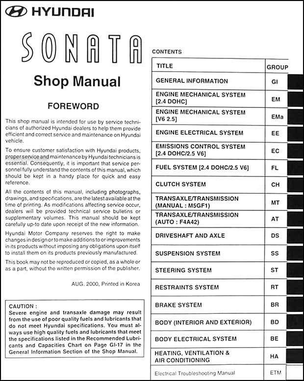 2001 hyundai sonata repair shop manual original rh faxonautoliterature com 2001 hyundai sonata owners manual 2001 hyundai sonata service manual