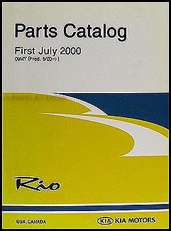 2001 kia rio parts book original for Kia motors parts catalog