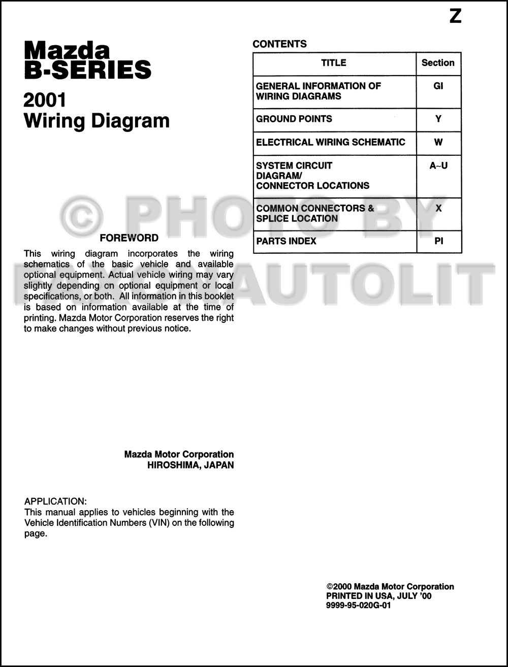 2001 mazda b series pickup truck wiring diagram manual