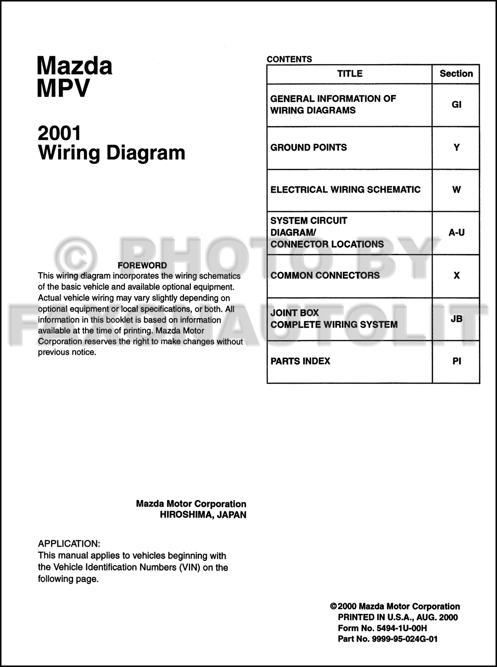 Mazda mpv wiring diagram manual original