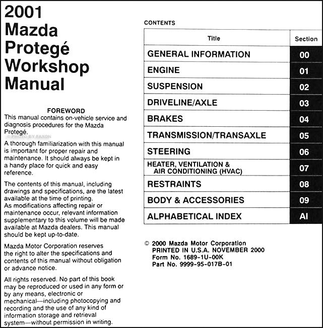 2001 mazda protege repair shop manual original rh faxonautoliterature com 2001 mazda mpv repair manual 2001 mazda mpv repair manual pdf