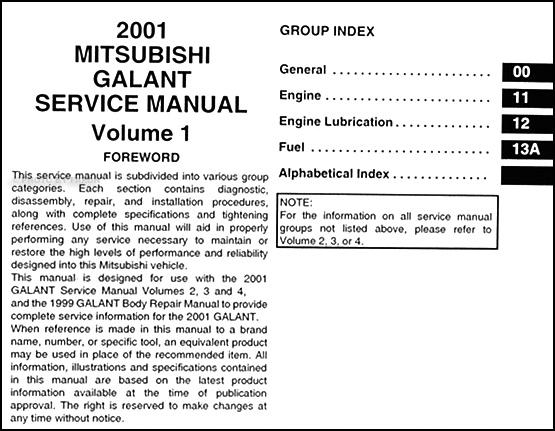 2001 mitsubishi galant repair shop manual set original rh faxonautoliterature com 2000 mitsubishi galant owners manual pdf 2001 Mitsubishi Galant GTZ
