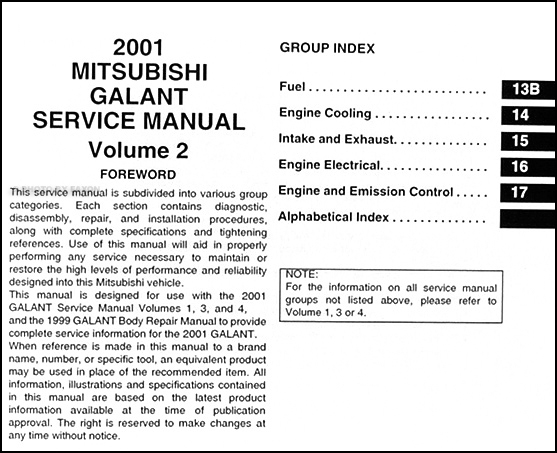 2001 mitsubishi galant repair shop manual set original rh faxonautoliterature com 2017 Mitsubishi Galant 2003 Mitsubishi Galant