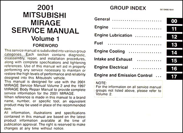 2001MitsubishiMirageORM TOC1 2001 mitsubishi mirage repair shop manual set original 2001 mitsubishi mirage wiring diagram at reclaimingppi.co