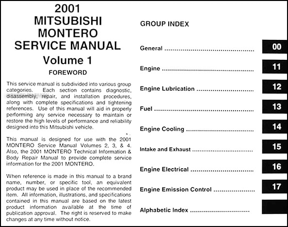 2001 mitsubishi montero repair shop manual set original rh faxonautoliterature com Black 2000 Mitsubishi Montero 2001 mitsubishi montero xls owners manual