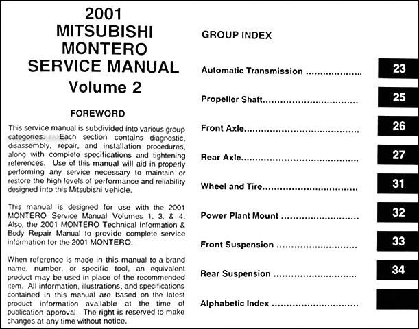 2001 mitsubishi montero repair shop manual set original rh faxonautoliterature com 2001 Mitsubishi Montero Engine Diagram 2001 mitsubishi montero limited owners manual