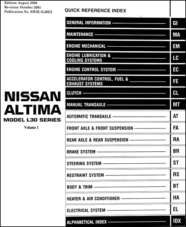 2001NissanAltimaORM TOC 2001 nissan altima repair shop manual set original 1998 nissan altima wiring diagram at soozxer.org