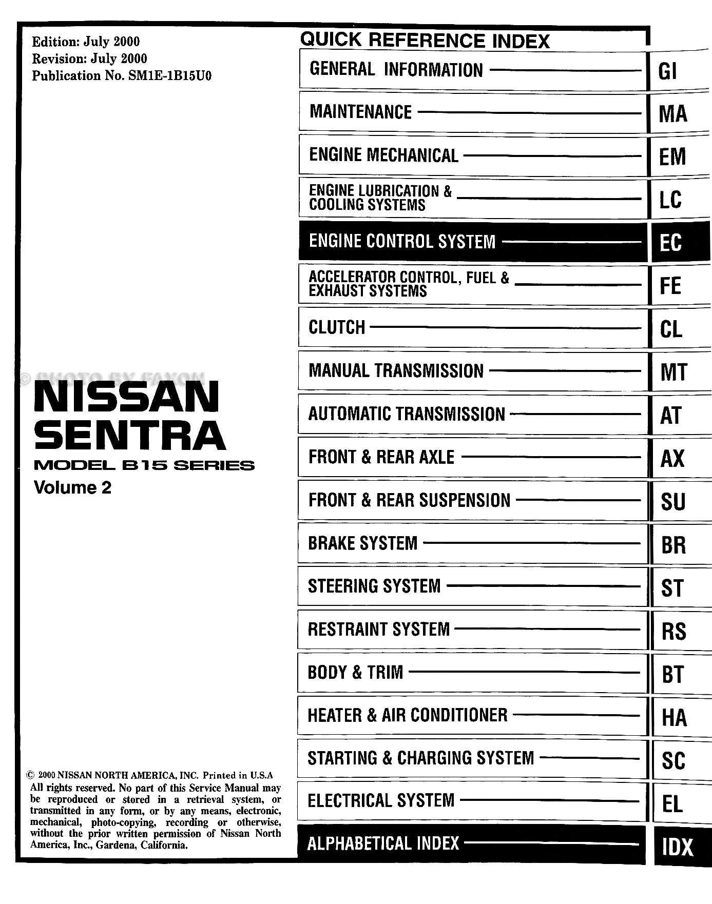 2001NissanSentraORMSet TOC 2001 nissan sentra cd rom repair shop manual 2004 nissan sentra 1.8 fuse box diagram at gsmportal.co