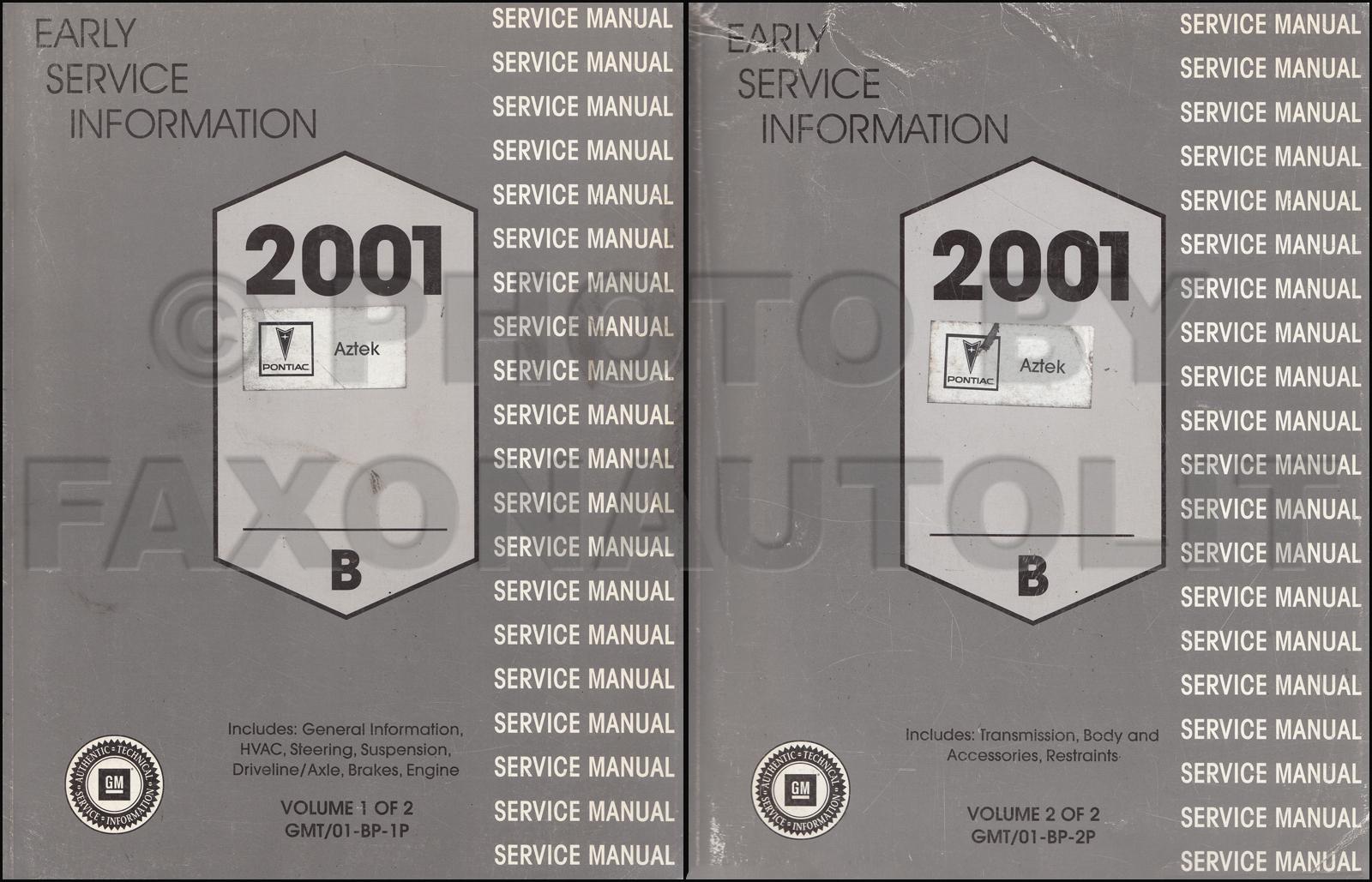 2001 pontiac aztek preliminary repair shop manual original. Black Bedroom Furniture Sets. Home Design Ideas
