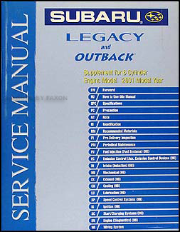 2001 subaru legacy outback 6 cylinder repair shop manual supplement rh faxonautoliterature com subaru repair manual pdf subaru libero repair manual