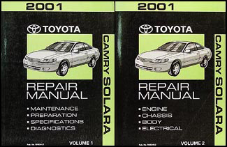 2001 toyota camry solara repair shop manual original set. Black Bedroom Furniture Sets. Home Design Ideas
