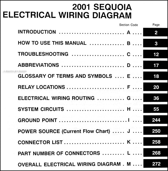 2001 Toyota Sequoia Wiring Diagram Manual Original
