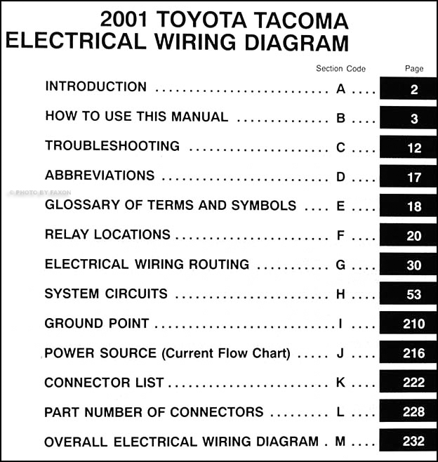 2001ToyotaTacomaWD TOC 2001 toyota tacoma pickup wiring diagram manual original 2001 tacoma wiring diagram at fashall.co