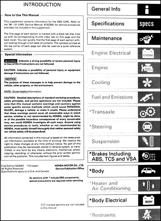 2002 acura 3 5 rl repair shop manual original supplement rh faxonautoliterature com acura rl owner's manual 2005 acura rl service manual