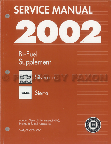 2002 ck8 bi fuel repair shop manual original supplement chevy rh faxonautoliterature com Appliance Repair Service Manuals GM Service Repair Manuals