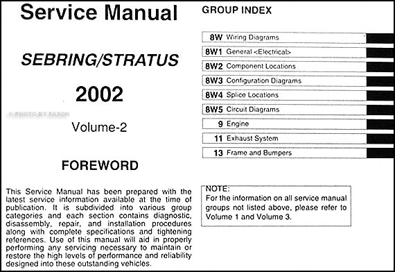 2002 Sebring Stratus Coupe Repair Shop Manual Original 3 Volume Setrhfaxonautoliterature: 2002 Chrysler Sebring Wiring Diagrams At Gmaili.net