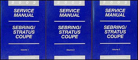 2002 sebring stratus coupe repair shop manual original 3 volume set rh faxonautoliterature com 1996 Chrysler Sebring JX 1996 chrysler sebring convertible owners manual