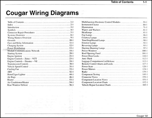 2002CougarWDTOC 2002 mercury cougar wiring diagram manual original 1999 Cougar V6 Upgarde at gsmx.co