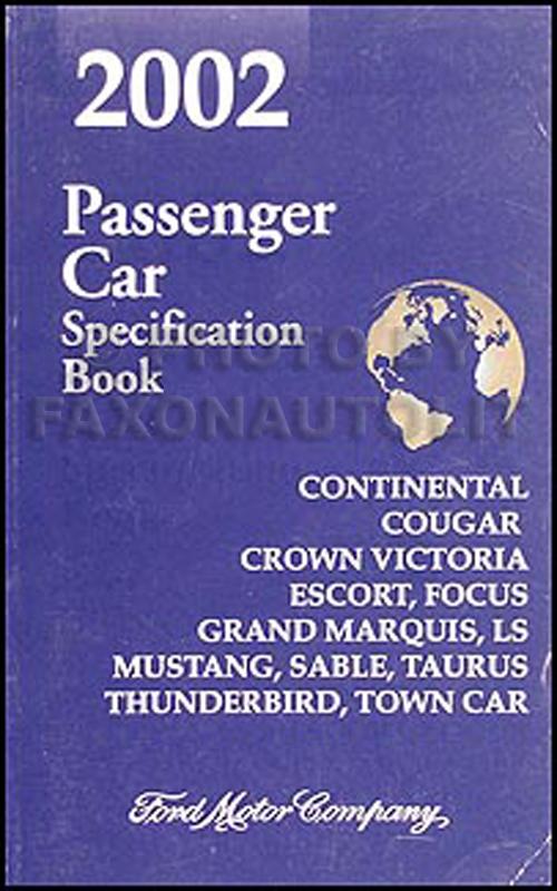 2002 Ford Lincoln Mercury Service Specifications Book Original