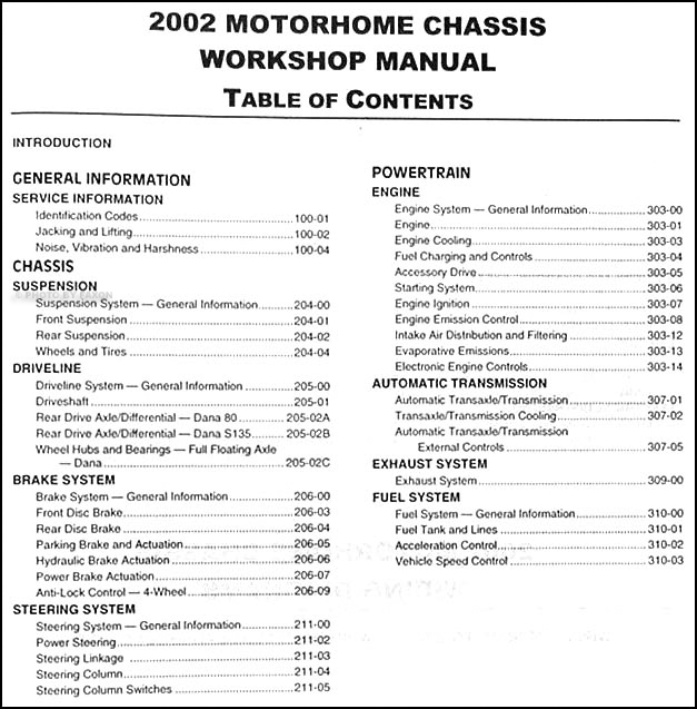 2002 Ford Motorhome Chassis Repair Shop Manual  U0026 Wiring