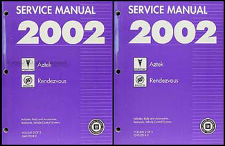 2002 aztek and rendezvous repair shop manual original 2 volume set.