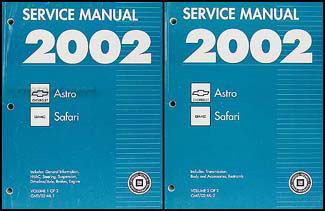 2002 Astro & Safari Repair Manual 2 Volume Set Original