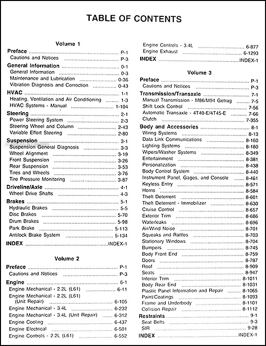 oldsmobile alero service manual