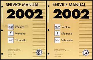 2002 venture montana silhouette shop manual set chevy. Black Bedroom Furniture Sets. Home Design Ideas