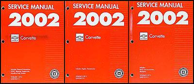 2002 Chevrolet Corvette Repair Manual Original 3 Volume Set