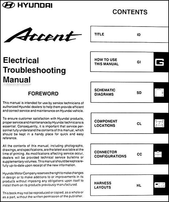 Stereo Wiring Diagram For 2002 Hyundai Accent : Hyundai accent electrical troubleshooting manual original