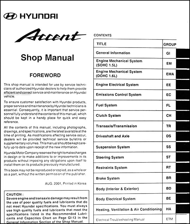 2002 hyundai accent repair shop manual original rh faxonautoliterature com Hyundai Elantra Parts Diagram 2006 Hyundai Sonata Parts Diagram