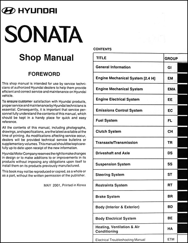 2002 hyundai sonata repair shop manual. Black Bedroom Furniture Sets. Home Design Ideas
