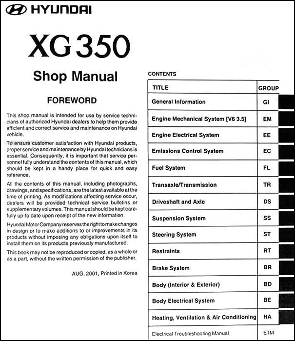2002 2003 hyundai xg 350 repair shop manual original rh faxonautoliterature com 2005 Hyundai XG350 Repair Manual Hyundai XG350 Parts Diagram