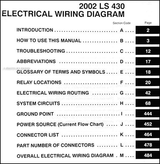 2002 lexus ls 430 wiring diagram manual original rh faxonautoliterature com 1998 Lexus LX470 Wiring 2001 lexus ls430 wiring diagram