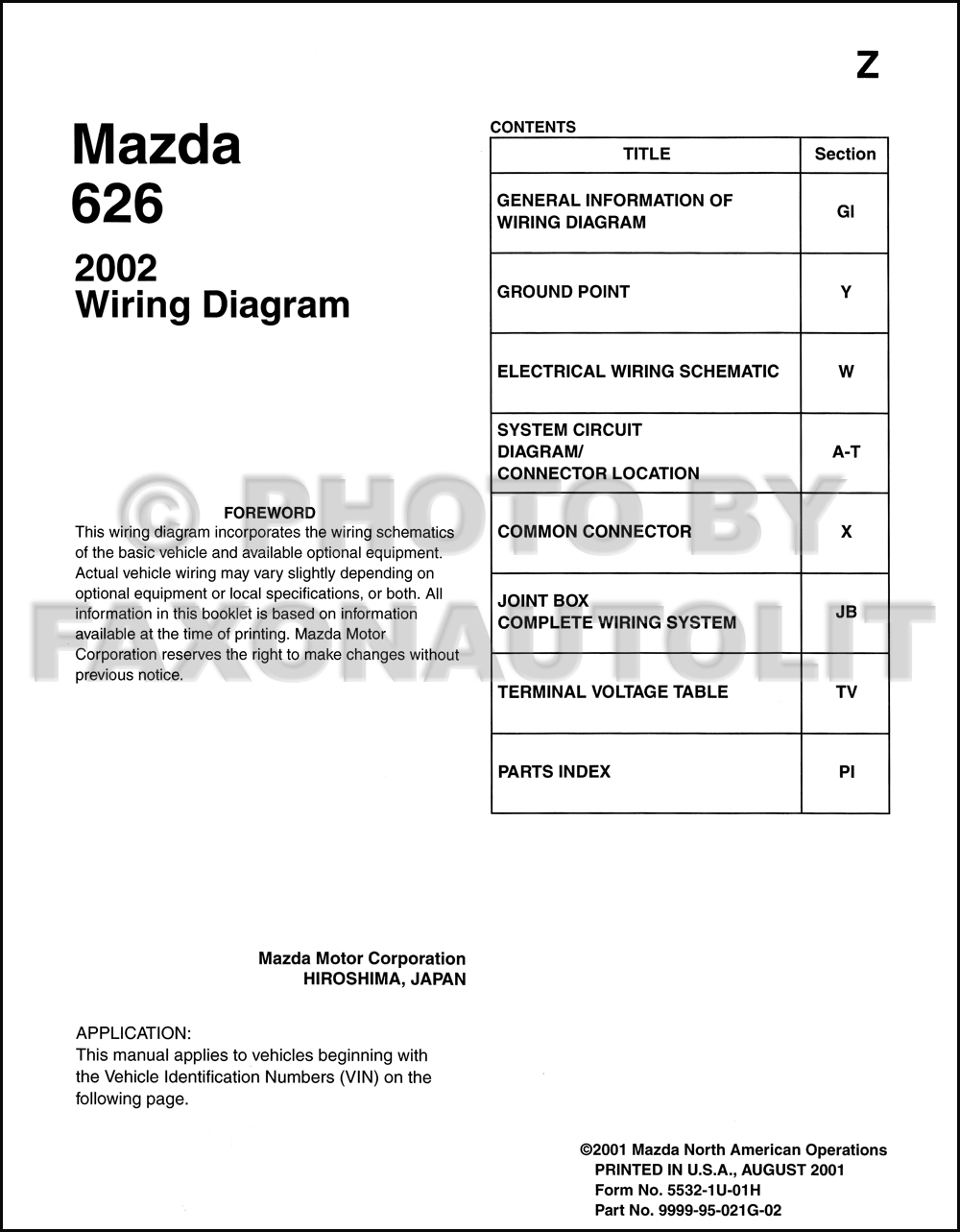 2002 Mazda    626       Wiring       Diagram    Manual Original