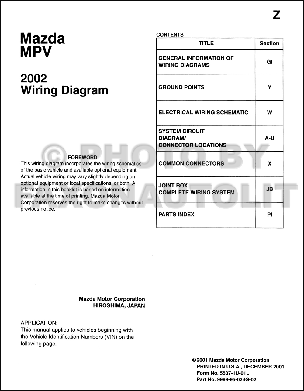 2002 mazda mpv wiring diagram manual original. Black Bedroom Furniture Sets. Home Design Ideas