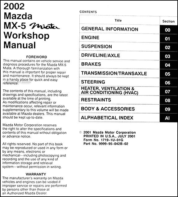 2002 mazda mx 5 miata repair shop manual original Mazda Miata Manual Transmission 2002 mazda miata service manual pdf