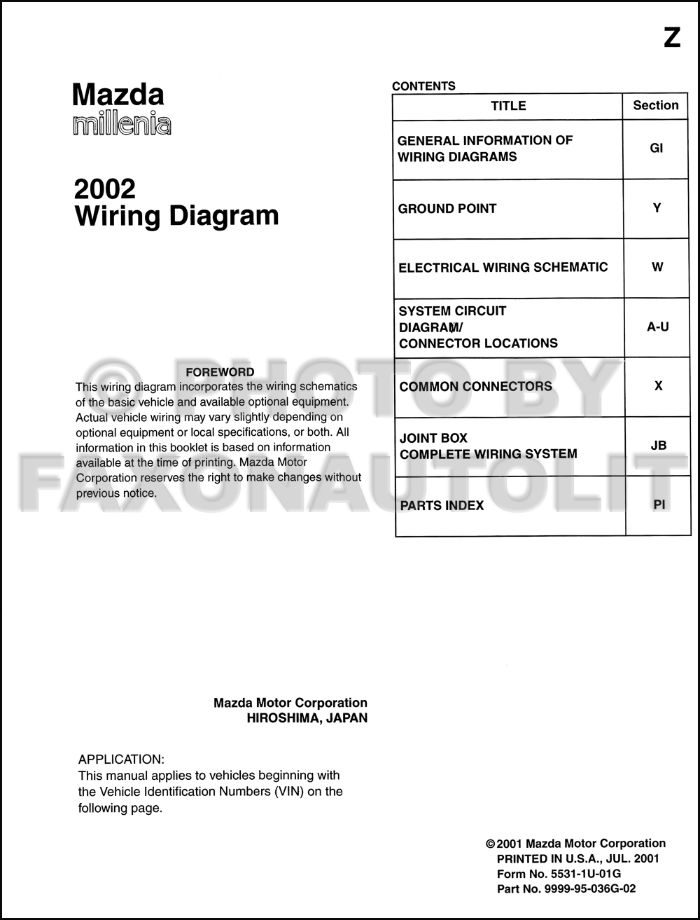 2002 Mazda Millenia Wiring Diagram Manual Original