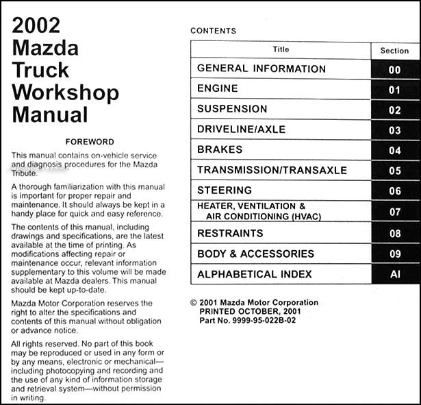 2002 Mazda Pickup Truck Repair Shop Manual Original B2300 B3000 B4000