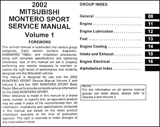 2002 mitsubishi montero sport repair shop manual original set rh faxonautoliterature com 2002 mitsubishi montero sport repair manual free 2002 mitsubishi montero sport manual pdf