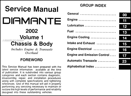 2002MitsubishiDiamanteORM TOC1 2002 mitsubishi diamante original repair shop manual 2 vol set 2000 mitsubishi diamante fuse box diagram at mifinder.co