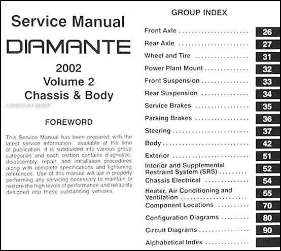 2002MitsubishiDiamanteORM TOC2 2002 mitsubishi diamante original repair shop manual 2 vol set 1997 Mitsubishi Diamante LS at crackthecode.co