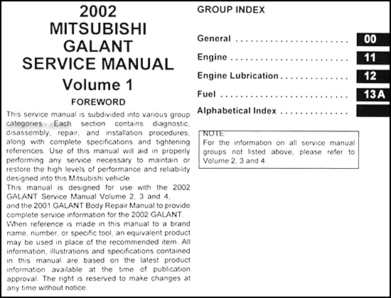 Mitsubishi Galant Repair Manual Pdf