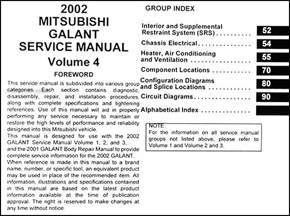2002 mitsubishi galant repair shop manual set original rh faxonautoliterature com 2005 Mitsubishi Galant Owner's Manual 2002 Mitsubishi Galant Steering Wheel Black