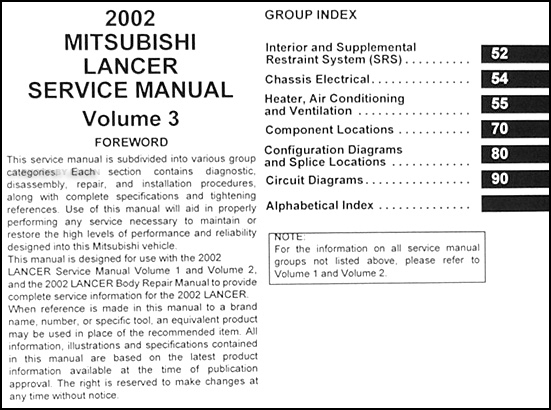 2002 Mitsubishi Lancer Repair Shop Manual Original 3 Vol  Set