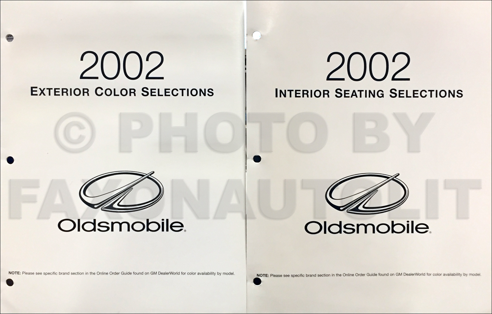 2002 Oldsmobile Color & Upholstery Dealer Folder Set Original